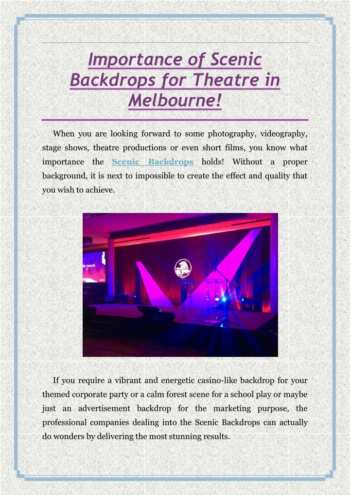 importance of scenic backdrops for theatre n.