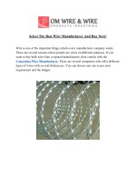 select the best wire manufacturer