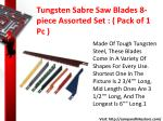 tungsten sabre saw blades 8 piece assorted set pack of 1 pc