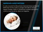 improves sleep pattern a study revealed that