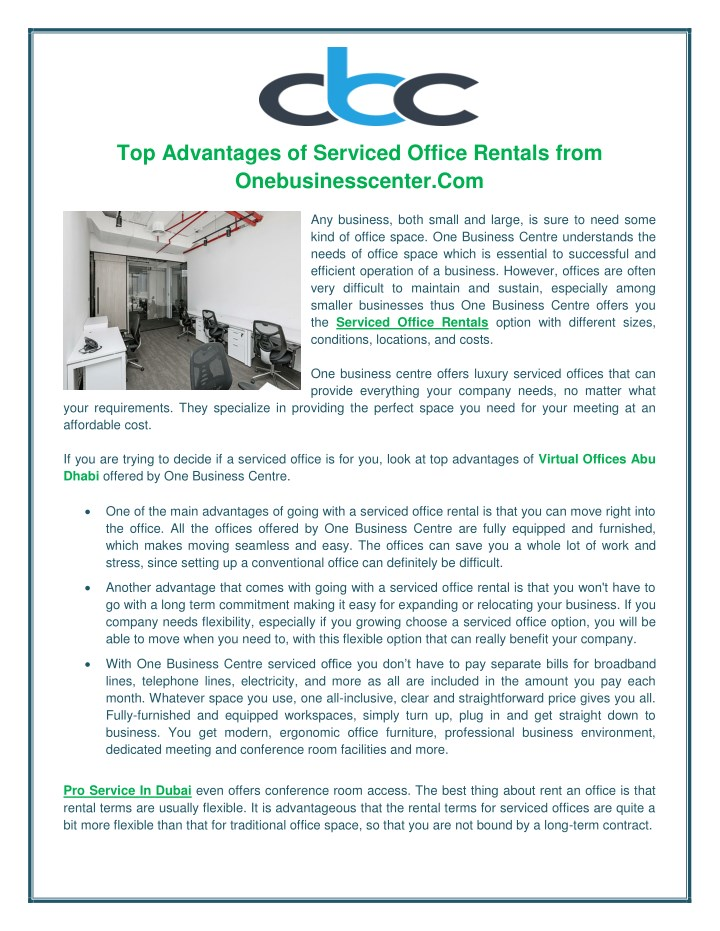 top advantages of serviced office rentals from n.