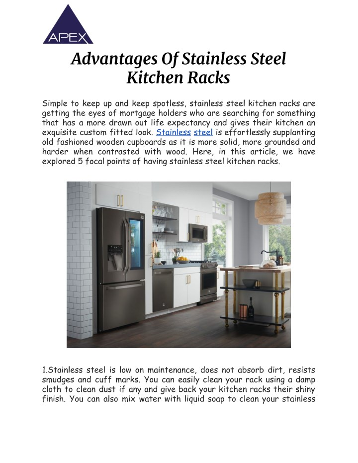 advantages of stainless steel kitchen racks n.