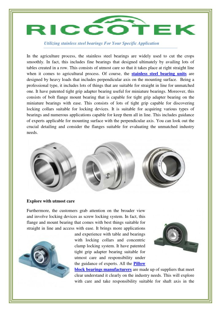 utilizing stainless steel bearings for your n.