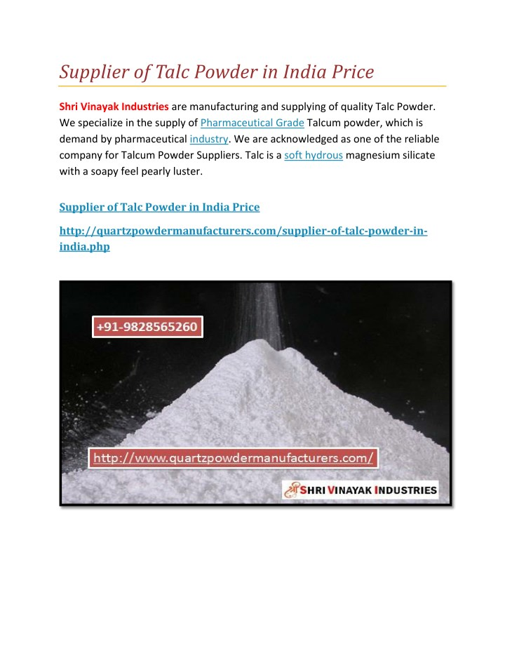 supplier of talc powder in india price n.