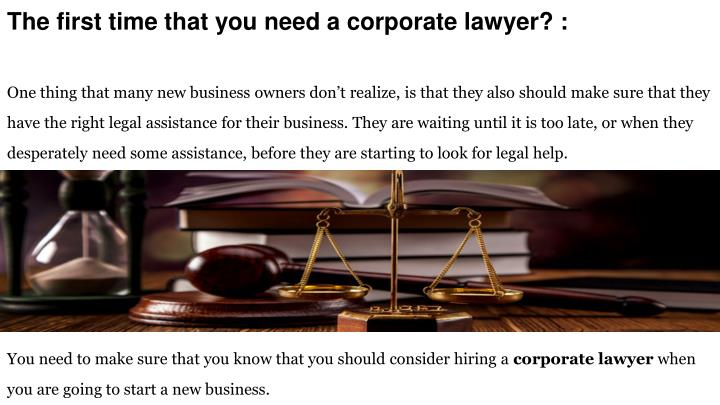 the first time that you need a corporate lawyer n.