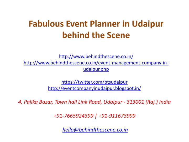 fabulous event planner in udaipur behind n.