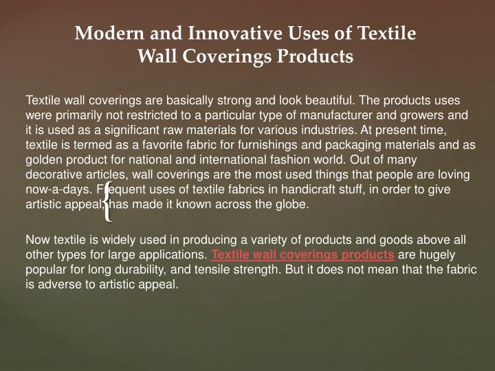 modern and innovative uses of textile wall coverings products n.