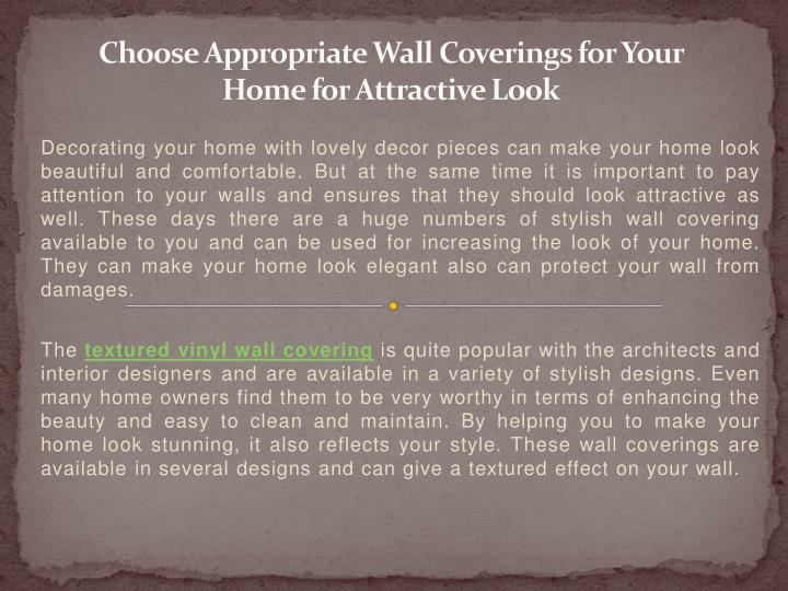 choose appropriate wall coverings for your home for attractive look n.