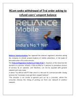 rcom seeks withdrawal of trai order asking
