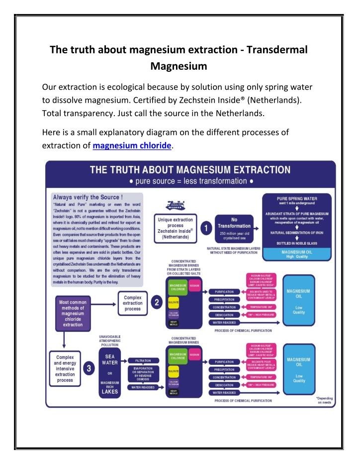the truth about magnesium extraction transdermal n.