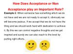 how does acceptance or non acceptance play 1