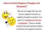 how to control negative thoughts and emotions