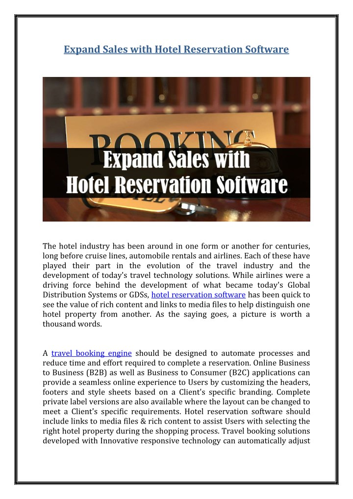 expand sales with hotel reservation software n.