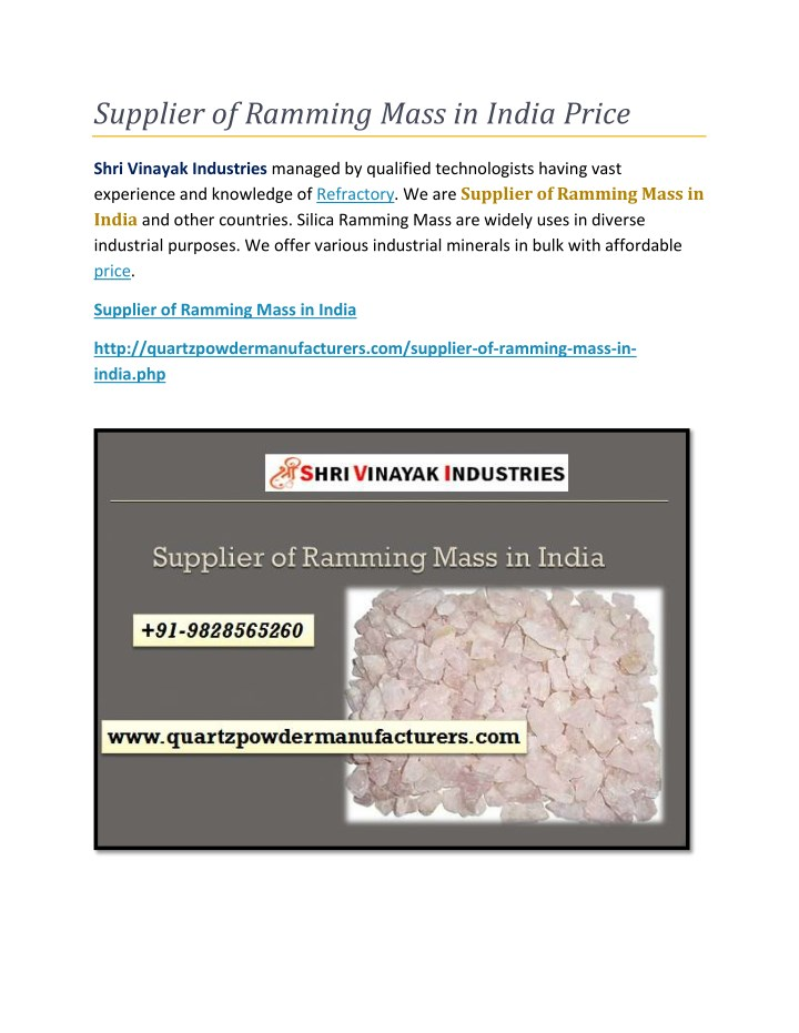 supplier of ramming mass in india price n.
