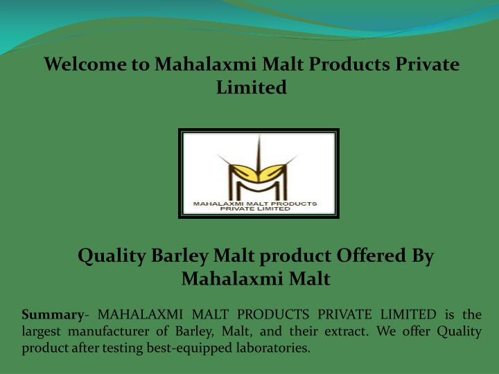 welcome to mahalaxmi malt products private limited n.