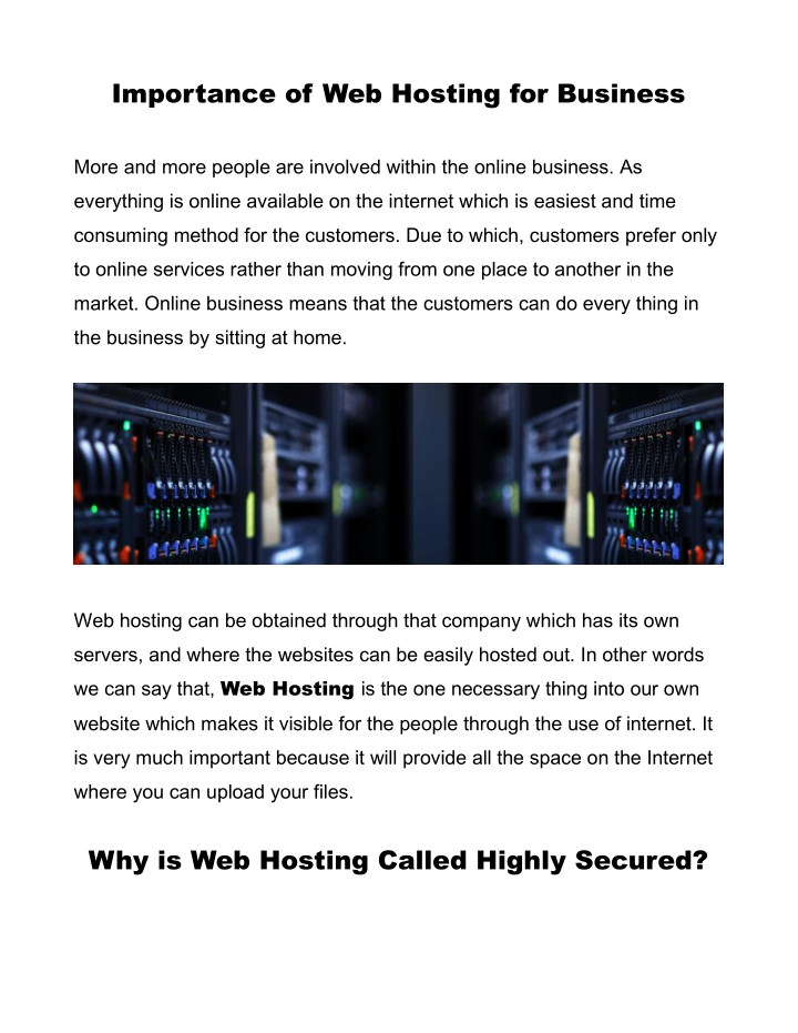 importance of web hosting for business n.