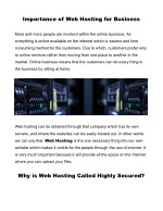 importance of web hosting for business