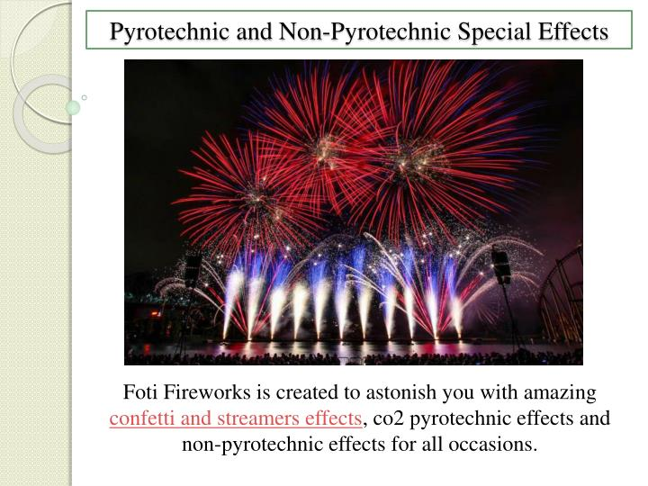 pyrotechnic and non pyrotechnic special effects n.
