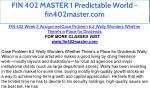 fin 402 master 1 predictable world fin402master 30