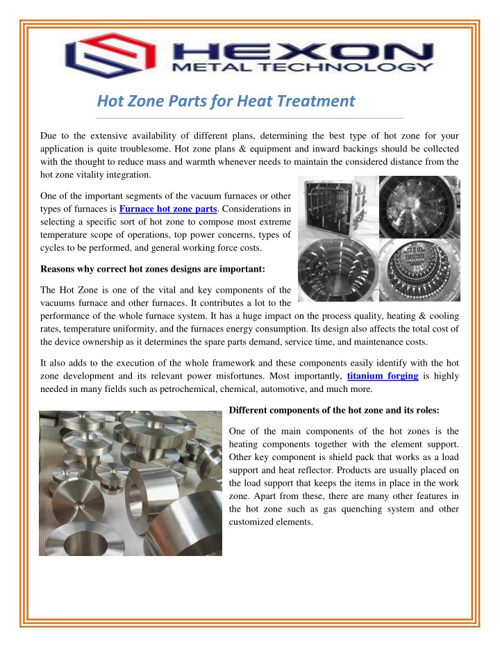 hot zone parts for heat treatment n.