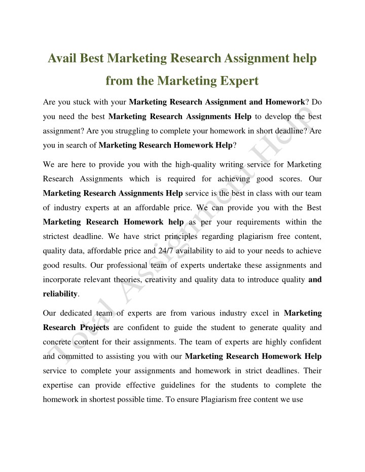 avail best marketing research assignment help n.