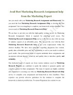 avail best marketing research assignment help