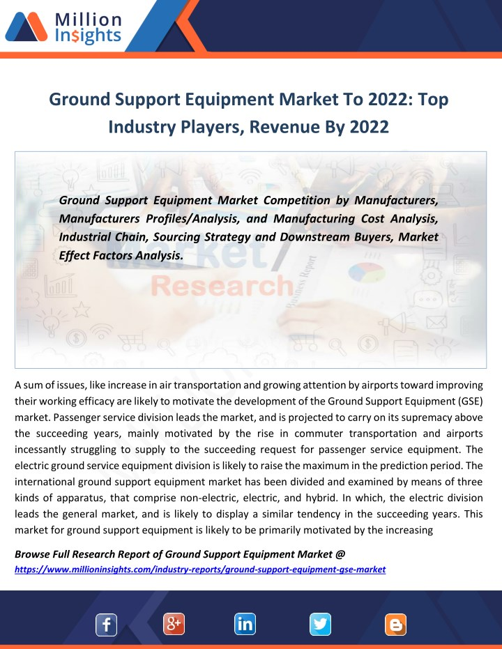 ground support equipment market to 2022 n.