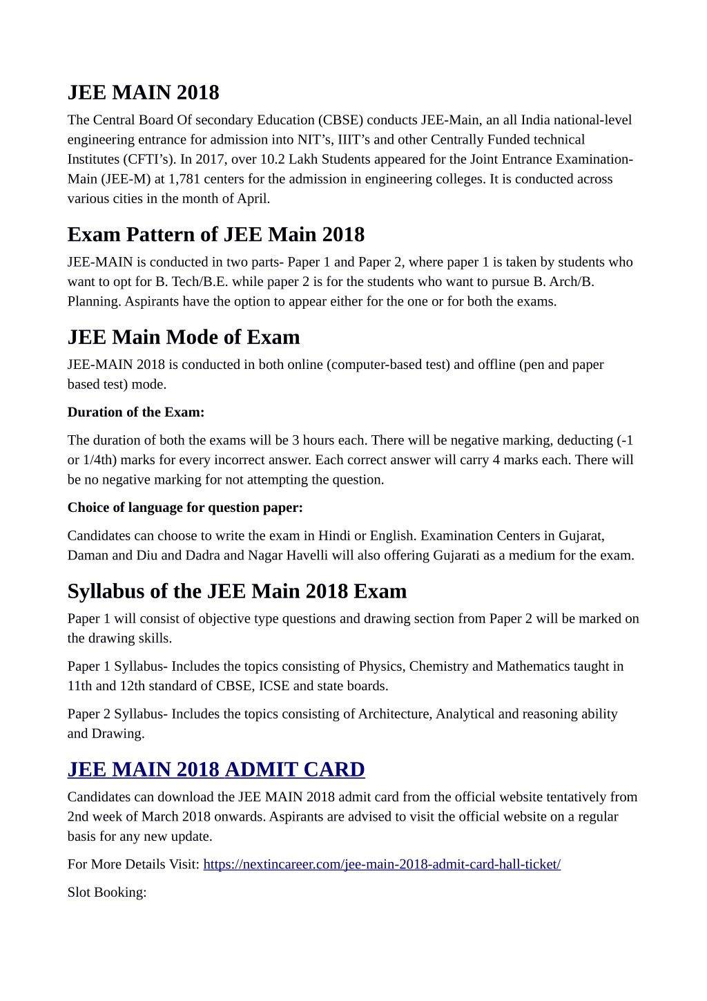 PPT - JEE Main 2018 Admit Card / Hall Ticket PowerPoint