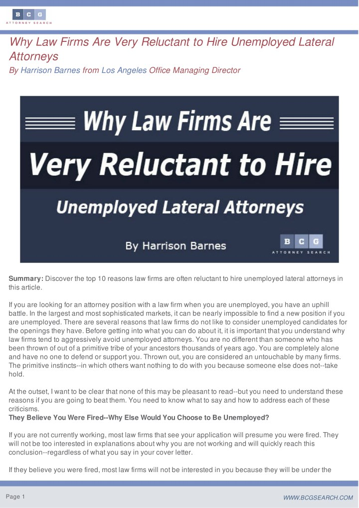 why law firms are very reluctant to hire n.