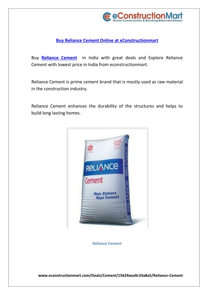 buy reliance cement online at econstructionmart n.
