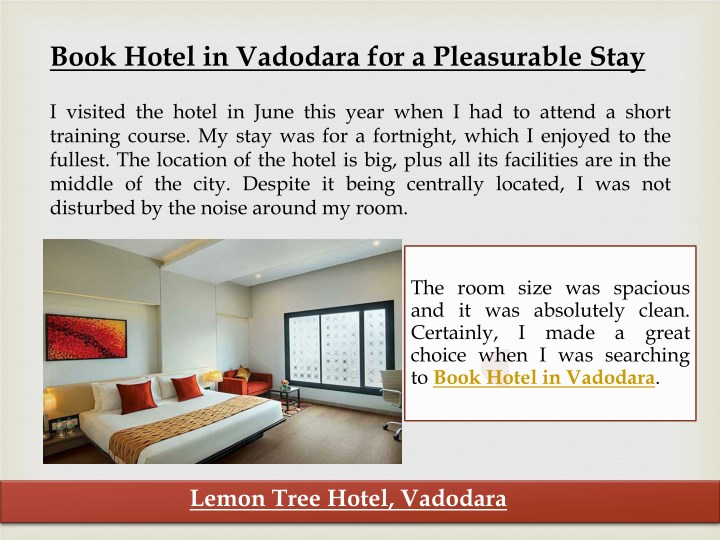 book hotel in vadodara for a pleasurable stay n.