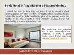 book hotel in vadodara for a pleasurable stay