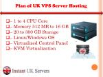 plan of uk vps server hosting
