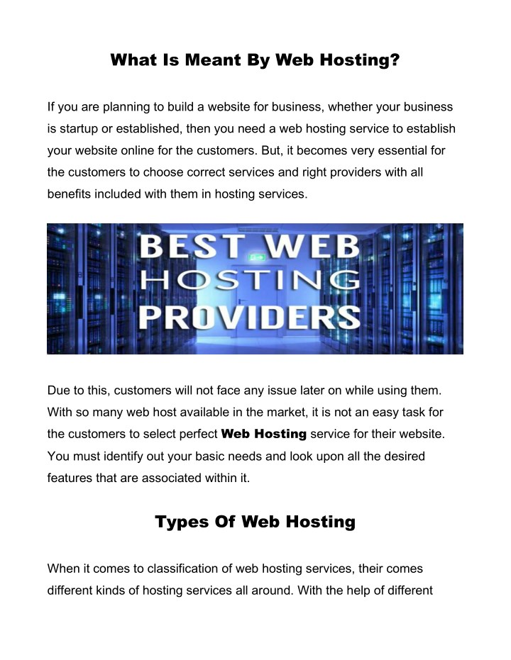 what is meant by web hosting n.