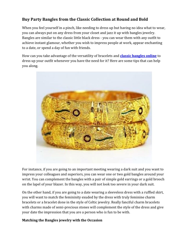 buy party bangles from the classic collection n.