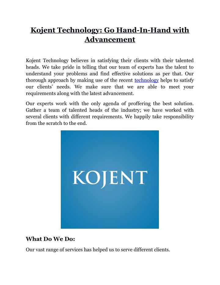 kojent technology go hand in hand with advancement n.