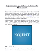 kojent technology go hand in hand with advancement
