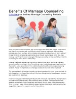 benefits of marriage counselling click here