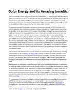 solar energy and its amazing benefits
