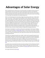 advantages of solar energy