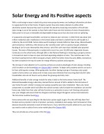 solar energy and its positive aspects 1