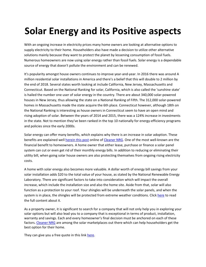 solar energy and its positive aspects n.