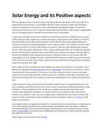 solar energy and its positive aspects