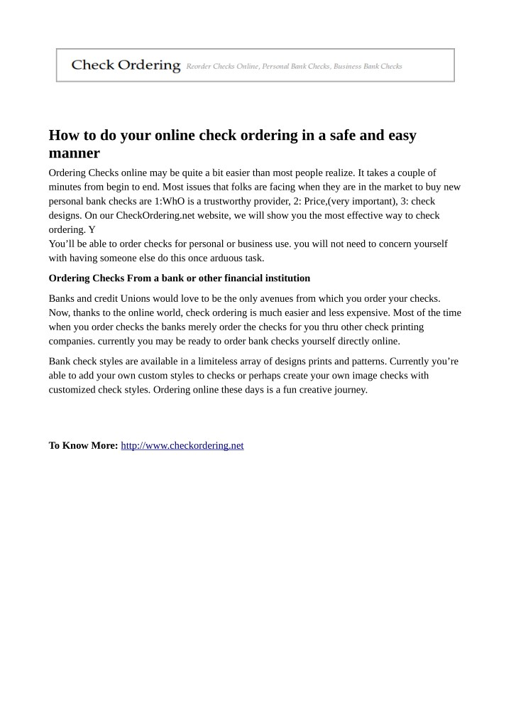 how to do your online check ordering in a safe n.
