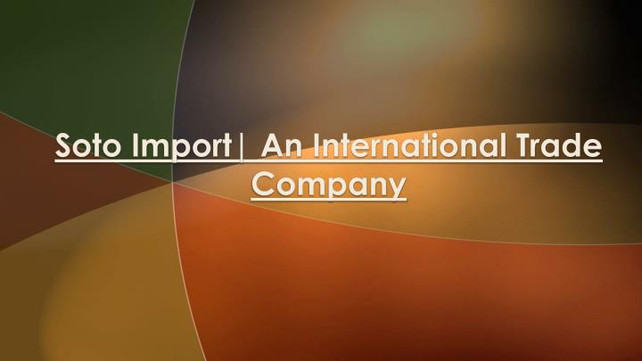 soto import an international trade company n.