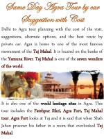 delhi to agra tour planning with the cost
