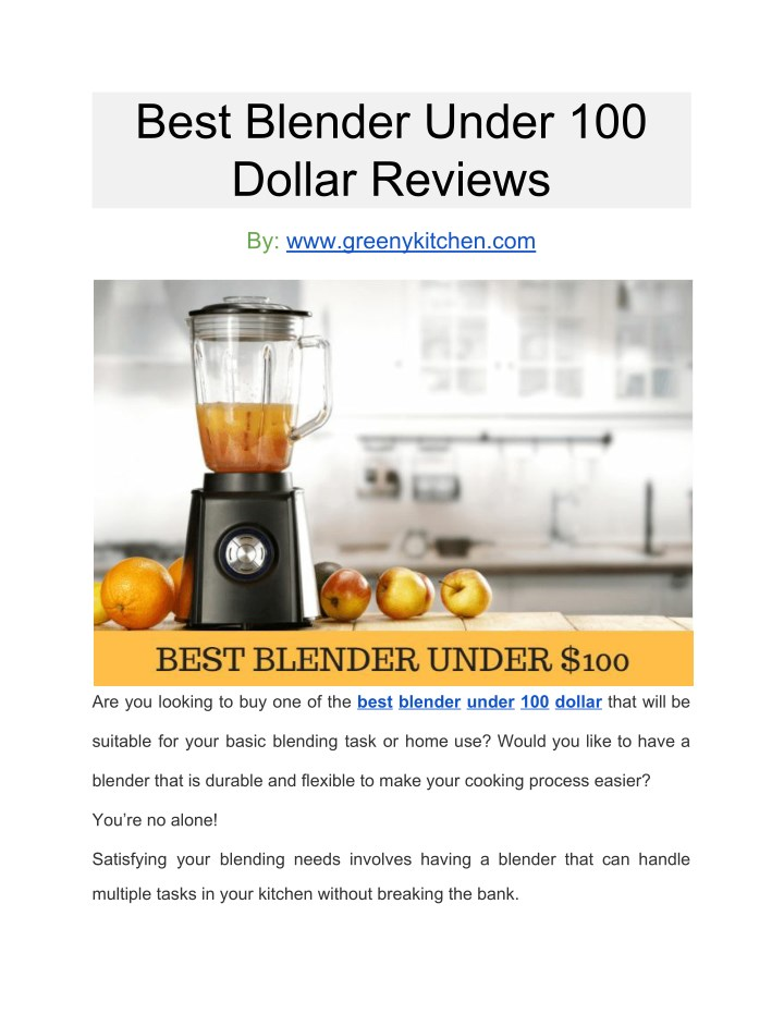 best blender under 100 dollar reviews n.