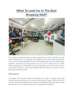 what to look for in the best shopping mall