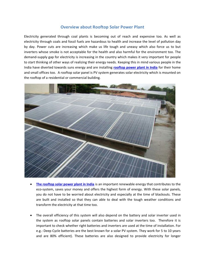 overview about rooftop solar power plant n.