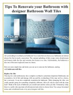 tips to renovate your bathroom with designer